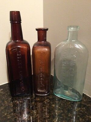 Antique Bottle Paine's Pinkhams Compound Quack Medicine Snake Oil Lot (IS425/8)