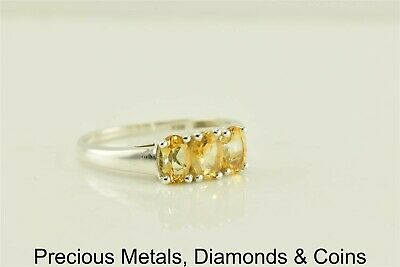 Sterling Silver Triple Yellow Oval Citrine Band Ring 925 Sz: 8