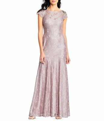 Adrianna Papell Embellished Lace Gown Silver Quartz Size 16 $279