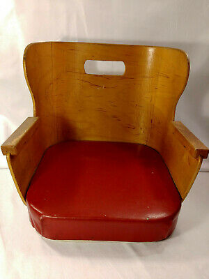 Antique Vintage Childs Booster Seat Wooden Kids Barber Chair Bent Wood RED VINYL