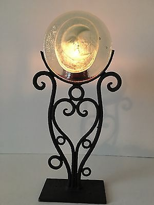 """Padilla Wrought Iron -Glass with Moon Candle Holder , Made in Mexico..15.5"""" tall"""