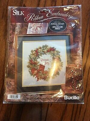 Bucilla Holiday Wreath Peace & Joy Picture With Silk Ribbon Embroidery Christmas