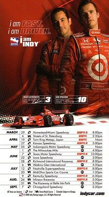 Dan Wheldon & Helio Castro Neves IndyCar Series 2008 Schedule Poster - very rare
