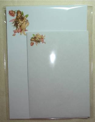 Rose Fairy letter writing stationery set with matching envelopes 8+4