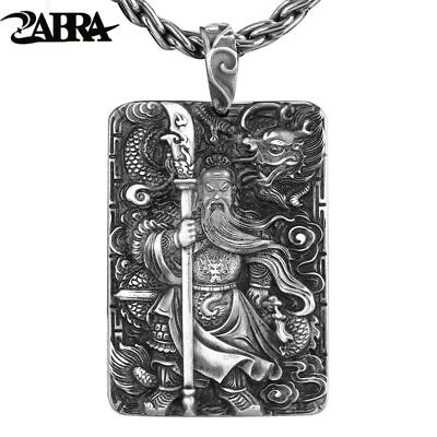 ZABRA Religion Solid 999 Sterling Silver Pendants For Men Dragon Guan Yu Hero
