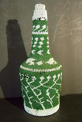 American Indian Hand Beaded Bottle with Cork Stopper