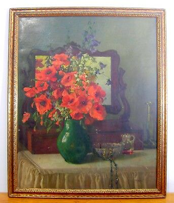 Antique Oil Painting Still Life on Board Red Flowers in Vase Signed