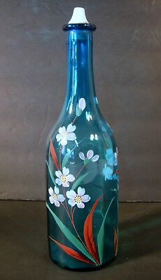 Antique Barber Bottle Blown Blue Glass Victorian Hand Painted Enamel Floral