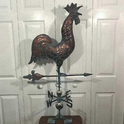 CROWING ROOSTER Weathervane AGED COPPER PATINA FINISH Handcrafted FUNCTIONAL
