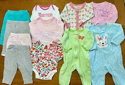 a243c448b Baby Girl Clothes LOT 3-6 Months Onesies Pajamas PJs Sleepers Easter Outfits