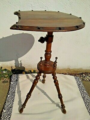 Antique Vintage Wooden  Pedestal Side Table Plant Telephone Lamp Stand 3 Legs