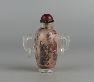 Chinese Exquisite Handmade Ancient characters pattern Glass snuff bottle
