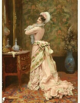 Victorian Trading Co. Toilette Print Woman in Pink Looking in Mirror Rougeron