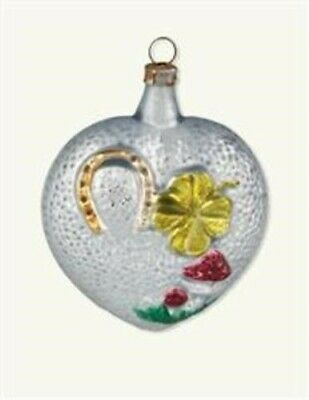 Victorian Trading Co German Blown Mercury Glass Heart Lucky Charms Ornament New