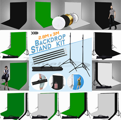PRO-Photo Muslin Backdrop Stand Black White Green Cotton Background Support Kit