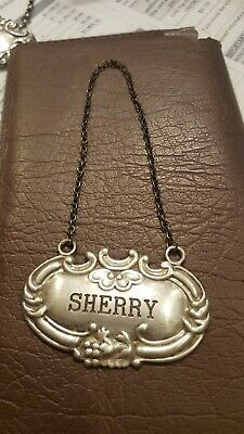 """Vintage Wallace Sterling Silver """"SHERRY"""" Liquor Decanter Label Tag 925"""