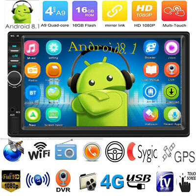 "Quad Core 2DIN Android 8.1 GPS BT WiFi 7"" Car Stereo MP5 Player FM Radio AUX-IN"
