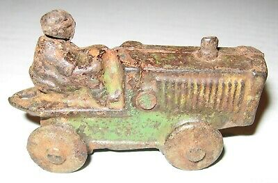 Vintage Green Cast Iron Tractor 1920's 1930's