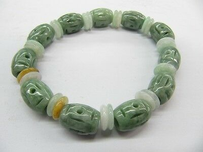 Chinese 100% A Grade Natural Jade/Jadeite Green Craved Lucky Oval Beads Bracelet