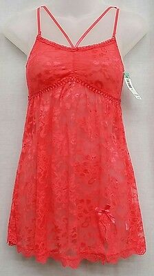 PASSION FOREVER S Coral Floral Lace Strappy Gathered Empire Nightie Lingerie