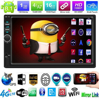 "Android 8.1 7"" Double 2Din GPS WiFi BT Car Stereo MP5 Player FM Radio Quad-core"
