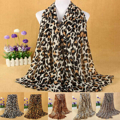 Winter Women Leopard Animal Print Scarf Cotton Rectangle Long Shawl Classic 2019