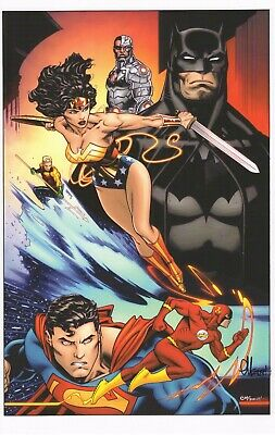 "JUSTICE LEAGUE ART PRINT C2E2 2019 ~ SIGNED  BY ED McGUINNESS 11""x17"""