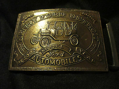 Henry Ford Detroit Vintage Brass Belt Buckle Record Model T Year Automobiles