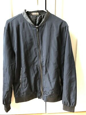 a1cbada85 ZARA MAN NAVY Faux Leather Bomber Jacket Size L - $24.50 | PicClick