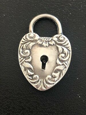 Antique Victorian Repousse Sterling Silver HEART PADLOCK Charm For Necklace