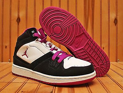 cc7ad9db8ded8f 2009 Nike Air Jordan Flight 1 Size 6.5Y - Black White Fuchsia - 371389 051