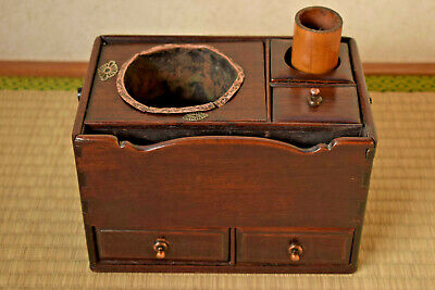 Meiji Era Japanese Rosewood Tobakobon/Smoking Box [copper/fittings/not/hibachi]