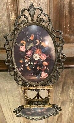 """Victorian Ornate Metal Frame Convex Glass Floral Wall Hanging Print 10 X 7"""" Sale"""