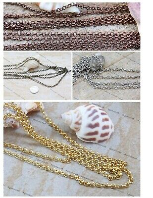 2 meters Rolo beading unfinished soldered round links Copper Silver Bronze tone