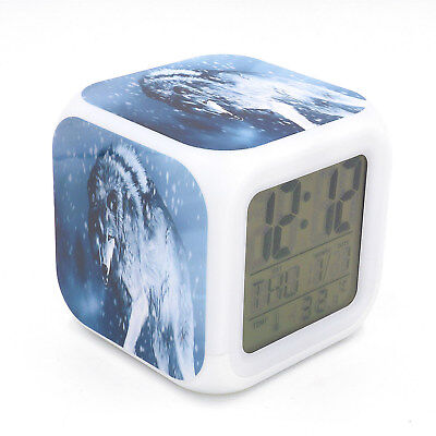New Led Alarm Clock White Wolf Creative Digital Table Alarm Clock for Kids Gift