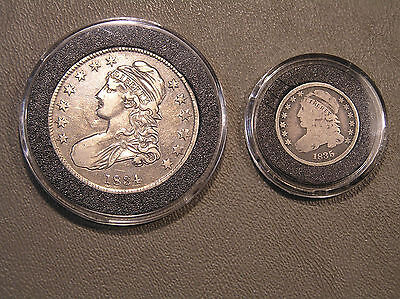 Lot of Two ** 1834 CAPPED BUST HALF DOLLAR & 1835 CAPPED BUST DIME ** Air Tites