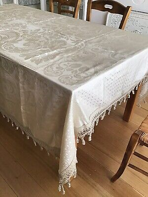 Antique Vintage Single Bed Spread Cover - Damask Fringed.
