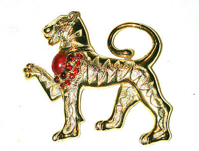 VINTAGE EGYPTIAN REVIVAL GOLDEN TIGER CAT W JEWELED COLLAR PIN SPHINX of ENGLAND