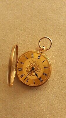 Antique 1865 English Victorian Dress Jewelry Gold Presentation Fob Pocket Watch