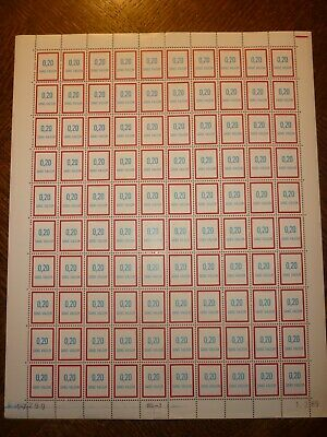 Feuille Complete 100 Timbres Fictifs N°242 Neufs**. Cote 250 Euros