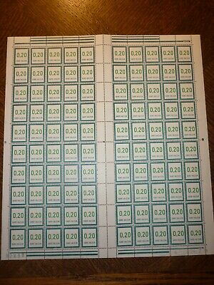 Feuille Complete 100 Timbres N°208 Neufs**. Cote 100 Euros