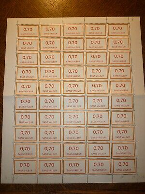 Feuille Complete 50 Timbres Fictifs N°211 Neufs**. Cote 50 Euros