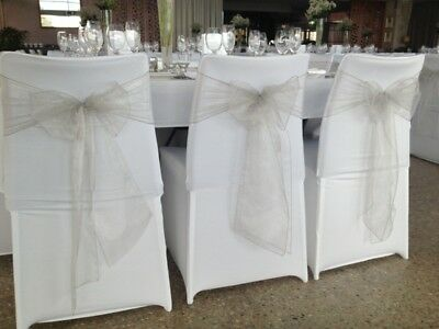 Organza Chair Sashes pale SILVER