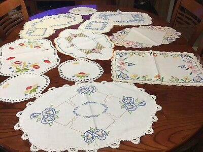 Vintage Embroidered Doilies X 12