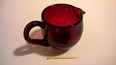 Antique Victorian ruby red hand blown glass creamer small jug English