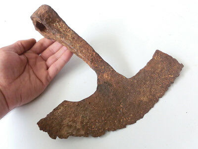 "RARE shape Ancient Iron Viking battle axe head 11"" large blead  9 -11th C AD"