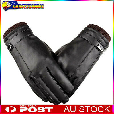 AU Mens Leather Gloves Winter Warm Windproof Touch Screen Riding Driving Mitts
