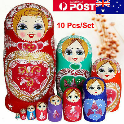10X Matryoshka Russian Nesting Doll Babushka Wooden Hand Made Painted Toys Decor