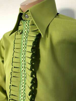 Men's Frilled Shirt Green Ruch Frilled Evening Wedding Formal Tootal Vtg Small