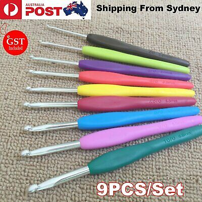 9pcs Soft Plastic Handle Aluminum Crochet Hook Needles Knitting Knit 2-6mm Set A